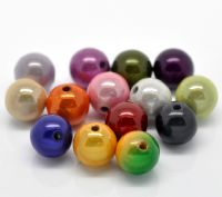 25 Mixed Miracle Acrylic Round  Beads 10mm